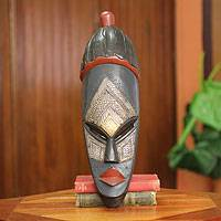 African wood mask, 'Ohene Pa' - Handcrafted Tribal King Mask