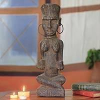 Wood sculpture, 'Healer' - African Wood Healer Woman Sculpture