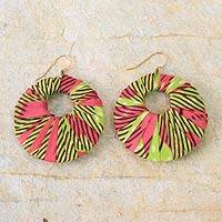 Cotton dangle earrings, 'Ewuradjoa' - Hand Made Cotton Dangle Earrings