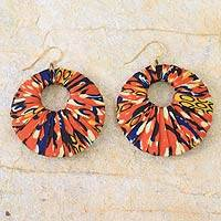 Cotton dangle earrings, 'Ewurakua' - Hand Crafted African Cotton Dangle Earrings