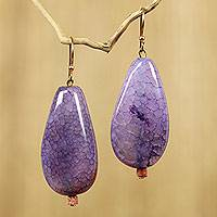 Agate dangle earrings, 'Lilac Nebula' - Artisan Crafted Agate Dangle Earrings from West Africa