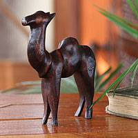 Teak sculpture, 'Camel of Purpose' - African Teakwood Camel Sculpture