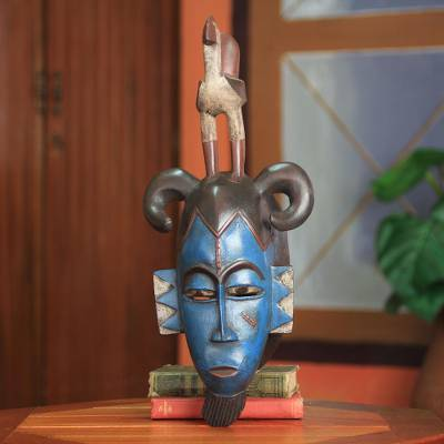 African mask, 'Guro Rooster' - Blue African Mask with Bird