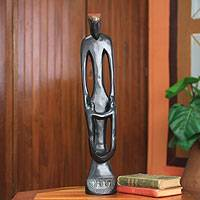 Wood sculpture, 'Happy Mother of Twins' - African Fertility Doll Wood Sculpture
