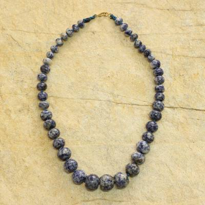 Beaded necklace, 'Leemo' - Blue and White Jasper Beaded Necklace Crafted by Hand