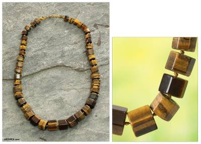 Beaded necklace, 'Esombo Kese' - Golden Brown Tiger's Eye Beaded Necklace Crafted by Hand
