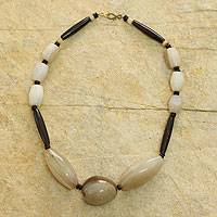 Bone beaded necklace, 'Anunyan' - Bone and Agate Artisan Crafted Necklace from Ghana