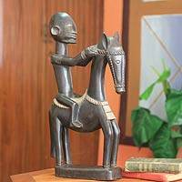 Wood figurine, 'Dogon Man on Horseback' - Wood figurine
