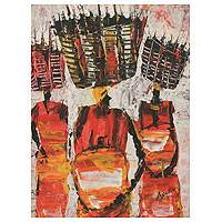'Basket Market' - Signed Expressionist African Painting