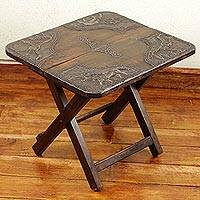 Wood and brass folding table, 'African Savannah' - African Hand Crafted Wood and Brass Folding Table 16 in Tall