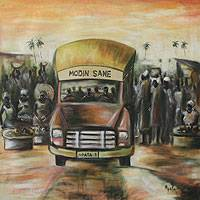 'Agbogbloshie Market' - City Bus African Fine Art Painting from Ghana