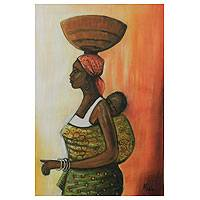 'Sweet Mother II' - Signed Fine Art Painting from Ghana