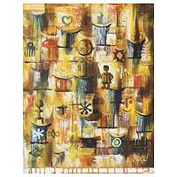 'Face of Culture' - Adinkra Symbol Paintin Fine Art from Ghana