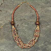 Ceramic and bauxite torsade necklace, 'Nene' - Artisan Crafted Necklace Ghana Beaded Jewelry