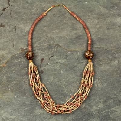 Ceramic and bauxite torsade necklace, Nene