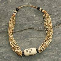 Bone and ceramic beaded necklace, 'Anyigba' - Artisan Crafted Beaded Necklace from Ghana