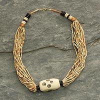 Bone and ceramic beaded necklace, 'Anyigba' (Ghana)