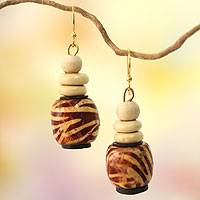 Wood beaded earrings, 'Desert Bird' - Wood Beaded Earrings on Brass Hooks from Ghana