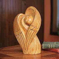 Wood sculpture, 'Angel of Love' - Angel Heart Sculpture Hand Carved in Ghana