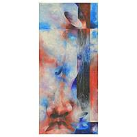 'Duty Cup' - Elongated Abstract Painting in Reds and Blues