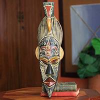 African mask, 'Flying Bird' - Ghanaian Handcrafted African Mask Bird Design
