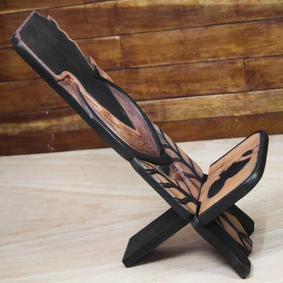 Wood lazy chair, 'African Pride' - Artisan Crafted West African Lazy Chair