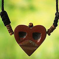 Men's wood pendant necklace, 'Kwele Ghost Love' - African Mask Necklace for Men's Jewelry