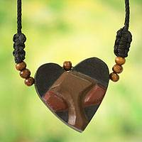 Men's wood pendant necklace, 'Kwele Love' - African Heart Mask Necklace for Men's Jewelry
