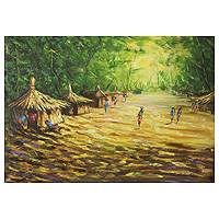 'In the Village' - African Landscape Painting