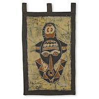 Batik wall hanging, 'Nyame Biribi Wo Soro Mask' - Cotton Batik Wall Hanging from Africa