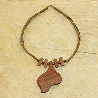 Wood pendant necklace, 'Endless Love' - Handmade Modern Wood Necklace from Africa