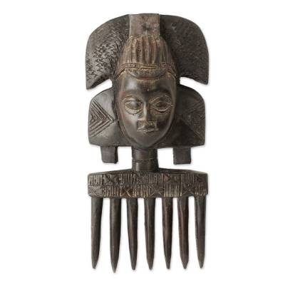 Wood wall sculpture, 'Ashanti Comb' - African Mask Comb Sculpture from Ghana