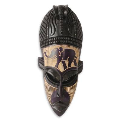 Ghanaian wood mask, 'African Elephant Spirit II' - Hand Carved African Wood Mask