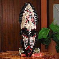 African wood mask, 'African Giraffe Spirit II' - Hand Carved Wood Mask