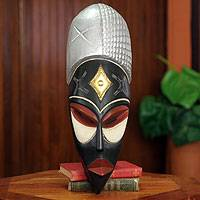 African mask, 'Haji' - Hand Carved African Mask with Embossed Metal