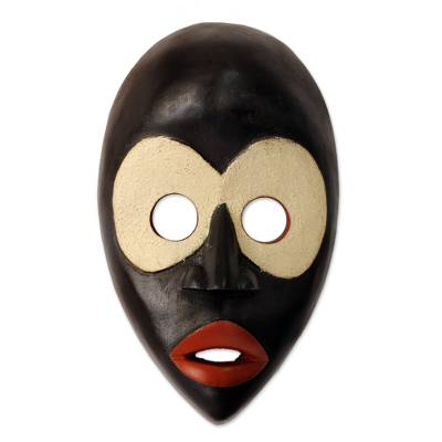 African mask, 'Peacemaker' - Black and White Dan Tribal African Mask