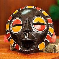 African mask, 'Akan Queen Mother' - Multi Color Handmade African Mask