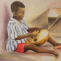 'Kofi Music' - Realist Fine Art Signed Painting from Africa