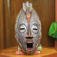 African mask, 'Ashanti Linking Bird' - Colorful Ashanti African Mask