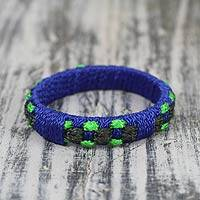 Bangle bracelet, 'Green Ananse Web' - Handcrafted West Africa Folk Tale Bracelet