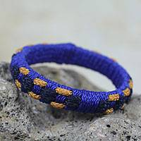 Bangle bracelet, 'Golden Ananse Web' - Handcrafted West Africa Folk Tale Bracelet