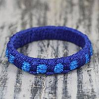 Bangle bracelet, 'Azure Ananse Web' - Handcrafted West Africa Folk Tale Bracelet