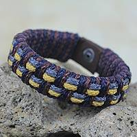 Men's wristband bracelet, 'Grey Ananse Web' - Artisan Crafted Recycled Bracelet for Men