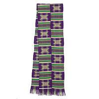 Cotton blend kente cloth scarf, 'Purple Makomaso Adeae'  (10 inch width) - Handwoven Traditional Kente Cloth Ccarf 10 Inch Width