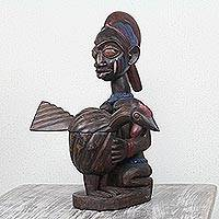 Wood sculpture, 'Yoruba Fowl Pot' - African Wood Sculpture Woman with Hen Pot