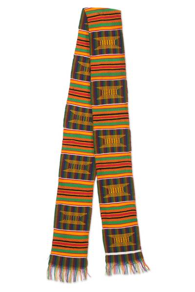 Cotton blend kente cloth scarf, 'Makomaso Adeae' (5 inch width) - Multicolored Kente Handcrafted Cloth 5 Inch Width