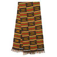 Cotton blend kente cloth scarf, 'Makomaso Adeae'  (15 inch width) - Multicolored Kente Handcrafted Cloth 15 Inch Width