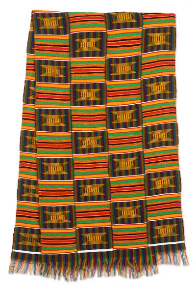 Cotton blend kente cloth scarf, 'Makomaso Adeae'  (20 inch width) - Multicolored Kente Handcrafted Cloth 20 Inch Width