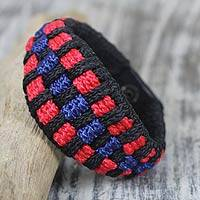 Men's wristband bracelet, 'Tricolor Tradition' - Men's Original Handcrafted Wristband Bracelet