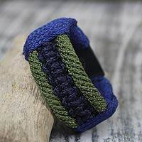 Men's wristband bracelet, 'Colors of Courage' - Men's Bracelet Macrame on Leather